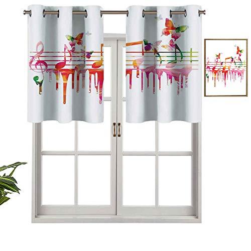 Hiiiman Cenefa de ventana de privacidad para interiores, diseño de notas musicales, clave de compositor, orquesta decorativa clásica, juego de 1, 127 x 45 cm para puerta corredera de patio o comedor