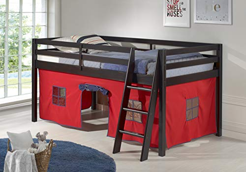 Alaterre Furniture Roxy Pine Twin Junior Loft Bed, Espresso with Red & Blue Tent