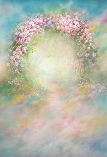 WaW 5x7ft Fotoshooting Leinwand Hintergründe Kulisse Rosa Abstrakter Pastell Blumenbogen Stoff Studio Fotohintergrund Baby Mädchen Portrait Ostern Frühling