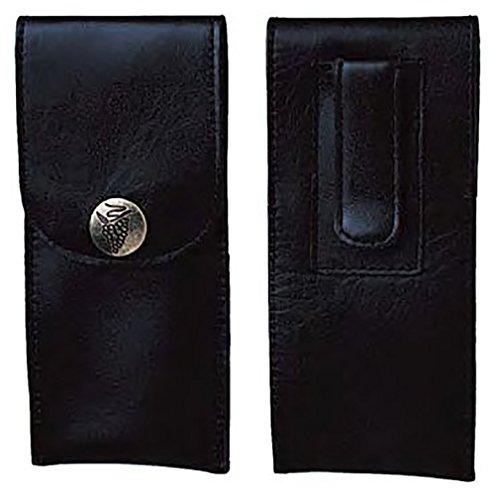 Grain Leather Corkscrew Holster Clip for Belt or Apron, Grape Design Button