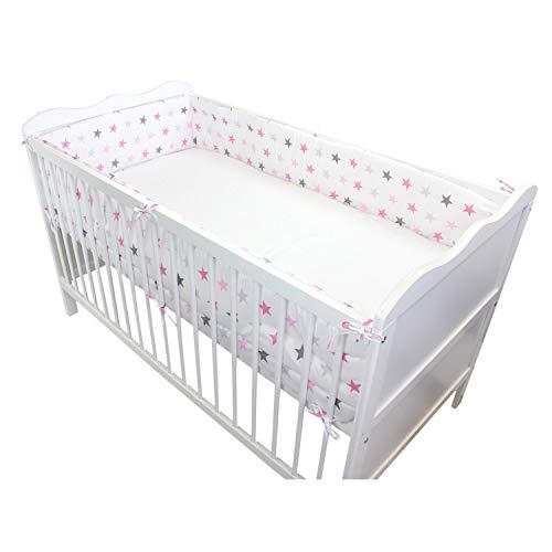 TupTam Baby Nestchen für Babybett Gemustert, Farbe: Sterne Rosa, Größe: 420x30cm (für Babybett 140x70)