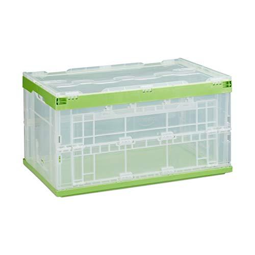 Relaxdays 1 x Profi Transportbox, stabil, Gewerbe, hochwertiger Kunststoff, Qualität, 60L, Faltbox HBT 31,5 x 59,5 x 39,5 cm, grün