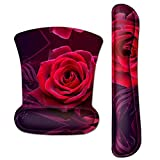 Ergonomic Keyboard Wrist Rest and Mouse Pad Wrist Rest Support Set, Durable & Comfortable & Lightweight Memory Foam Set for Easy Typing & Pain Relief by AORTDES (Red Rose)