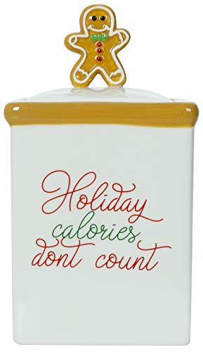 Holiday Calories Don't Count - Christmas Themed Winter Holiday Ceramic Cookie Jar