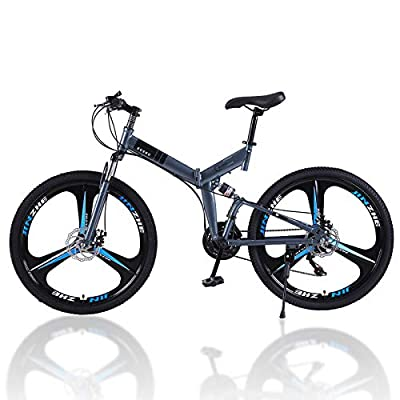 MTFITNESS 2020 New Mountain Bike 21 Speed 6 Spoke 26in Double Disc Brake Bicycle Folding Bike for Adult Teens Bicycle Full Suspension Non-Slip Bikes Silver