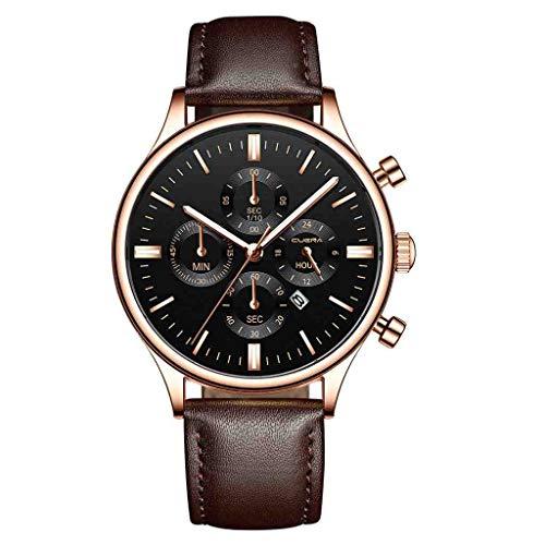 SWJM Relogio Masculino Uhren Herrenmode Sport Edelstahlgehäuse Lederband Uhr Quarz Business Armbanduhr Reloj Hombre,L