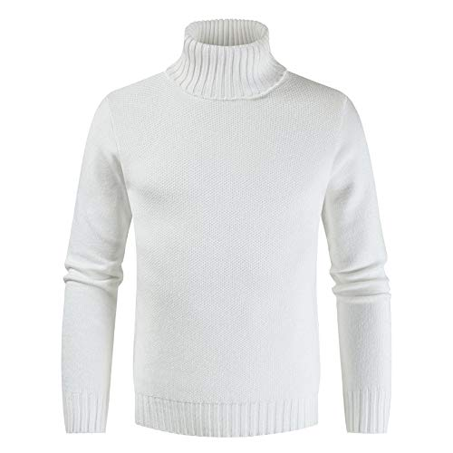 Mens Turtleneck Sweater Casual Ribbed Slim Fit Knitted Jumper High Roll Neck Basic Turtleneck Warm Pullover XL