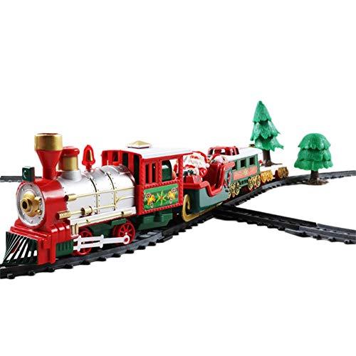Ridecle Weihnachten Zug Set Retro-Zug mit Wagen, Gleisen und Festlichen Baumschmuck, Batteriebetriebene Elektrische Eisenbahn Zug Set Spielzeug Geschenk für Kinder