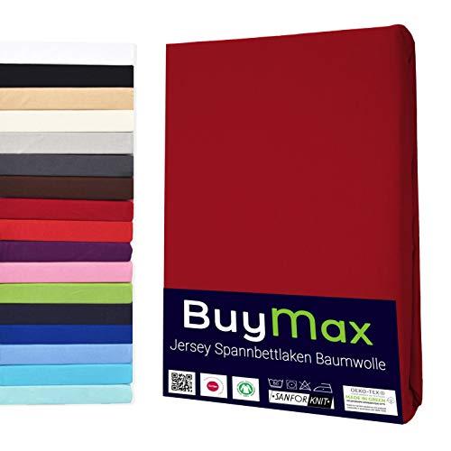 Buymax Spannbettlaken Kinderbett 60x120-70x140 cm Spannbetttuch Bettlaken für Beistellbetten Babybett 100% Baumwolle Jersey Matratzenhöhe bis 15 cm, Bordeaux Rot