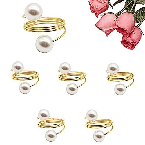 Ensemble de 6 Anneaux de Serviette, Anneaux de Serviette en or Anneaux de Serviette en Perles Scintillantes Avec Perle pour la Décoration de Table de Mariage D'hôtel
