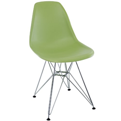 Modway Paris Mid-Century Modern Molded Plastic Dining Chair with Steel Metal Base in Green, One