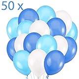 50 Globos Azul Blanco y Turquesa Brilante de 36 cm. Globos de Látex de 3,2g. por Helio. Decoraciones y Accesorios para Fiesta de Cumpleaño y Bautizo