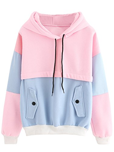 SweatyRocks Women's Winter Color Block Long Sleeve Fleece Hoodie Sweatshirt with Pockets Pink Blue M
