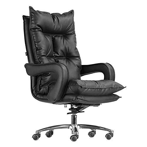DGHJK Ergonomischer Stuhl Mit Hoher Rückenlehne, Leder Executive, Teleskop-Fußstütze Boss Chair Reclining Swivel Chair-Schwarz, (Farbe: Schwarz)