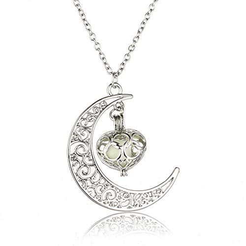 KJFUN Hot Moon Glowing Necklace Gem Charm Jewelry Chapado En Plata Hollow Luminous Stone Colgante Collar