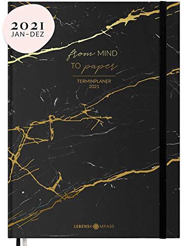 Kalender 2021 A5 Hardcover mit Gummiband & 2 Lesebändchen - Terminplaner 2021 und Jahresplaner Taschenkalender zum Planen - Ein Terminkalender Planer 2021 von Lebenskompass®