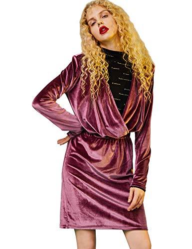 Elf zak dames fluwelen jurk vintage jurk met volants lange mouwen elegante A-lijn feestelijke mini partyjurk avondjurk