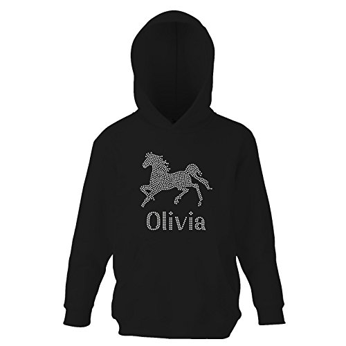 Black 7-8 Girls Slim Fit Girl's Personalised Horse Riding Crystallised Equestrian Hoodie Varsany