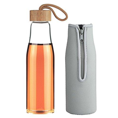 Life4u Trinkflasche Glas Wasser Flasche Bpa-freien 480ML