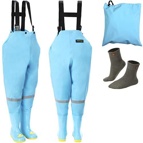 smartpeas wasserdichte Wathose für Kinder mit Gummi-Stiefel blau Größe 22/23 – ideale Anglerhose/Watthose für Kinder +Plus: 1x Socken