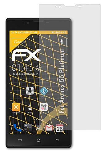 atFolix Panzerfolie kompatibel mit Archos 55 Platinum Schutzfolie, entspiegelnde & stoßdämpfende FX Folie (3X)