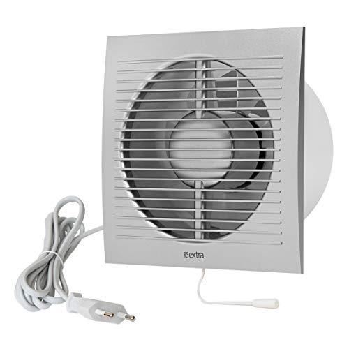 Ø 150mm Wandventilator Lüfter Abluft Kabel Schalter Ventilator Küche WC Bad mit stecker, Farbe - Silber