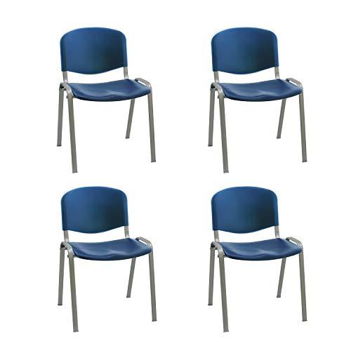 Silla confidente ISO apilables Ideal para Salas reuniones plástico Polipropileno Patas Acero en Gri