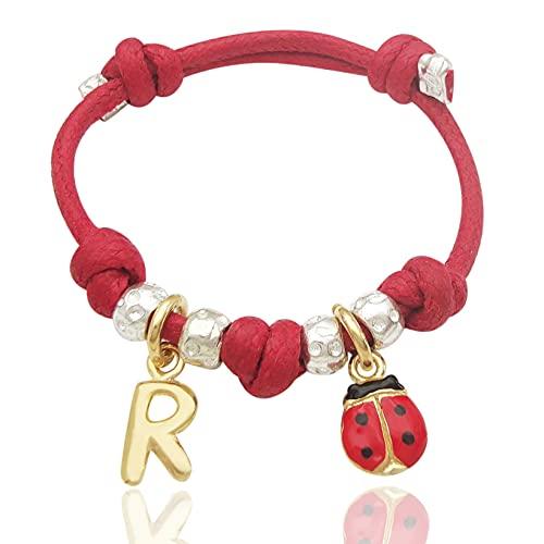 bracciale cordino rosso, granelli e ciondoli coccinella e lettera iniziale nome in argento 925. Regalo per bambino bambina (da 4 anni in sù)