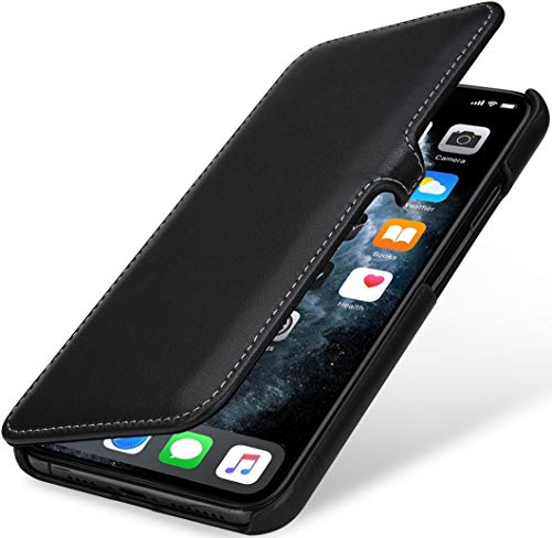 StilGut Book Hülle kompatibel mit iPhone 11 Pro Max Hülle aus Leder mit Clip-Verschluss, Klapphülle, Handyhülle, Lederhülle - Schwarz Nappa
