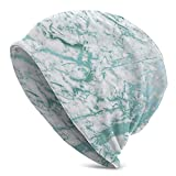 Marble Stone Abstract White Carrara Blue Teal Unisex Adult Knit Hat Beanie Hat Gorro Cálido De Moda Unisex Informal para Hombres Y Mujeres
