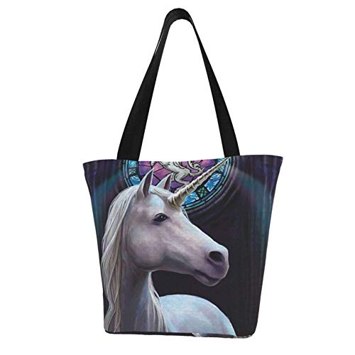 Unique Charm White Unicorn Horse Themed Printed Women Canvas Handbag Zipper Shoulder Bag Work Booksbag Tote Purse Leisure Hobo Bag For Shopping