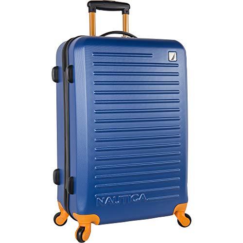 Nautica Ahoy Hardside Expandable 4-Wheeled Luggage-24 Inch Checked Size, Blue/Tangerine, 24