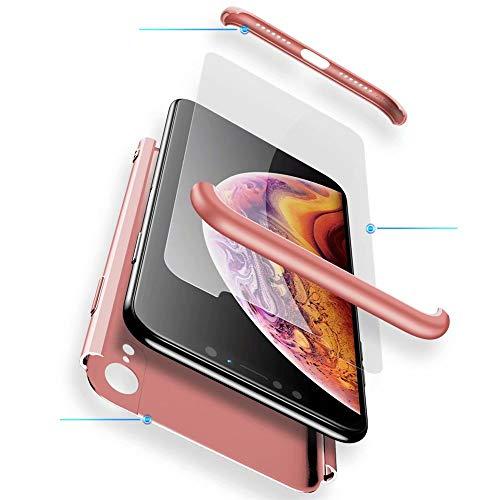 WYRHS Funda Huawei Honor 9 Lite Protección de 360 Grados 3 en 1 con [Protector de Pantalla de Vidrio Templado] Silicona TPU Bumper Shockproof Resistente a Los Arañazos Cover-Oro Rosa