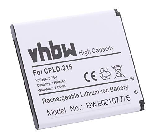 vhbw Li-Ion Akku 1800mAh (3.7V) für Handy Smartphone Telefon Vodafone Smart 4 Turbo 889N, 4G, Yulong Coolpad 8860U, SFR StarAddict III wie CPLD-315.