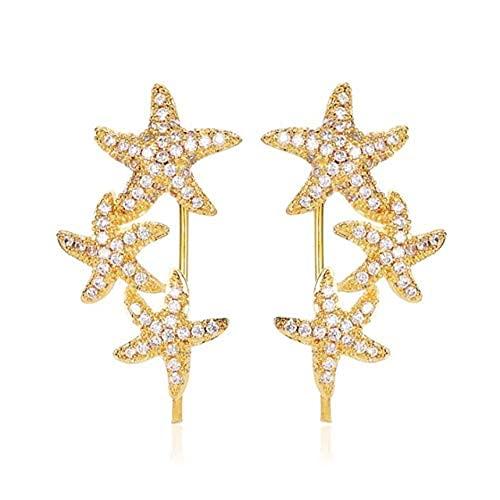 Temperamento Wild Tres Estrellas de Mar Rhinestone Ear Clip Pendientes Creativo Elegante Pendientes de Mujer Accesorios