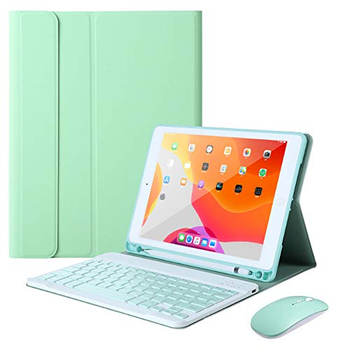 QYiD Keyboard Case 9.7 for iPad 2018 (6th Gen) - 2017 (5th Gen) - iPad Pro 9.7 - iPad Air 2&1, Stand Cover with Magnetically Detachable Wireless Keyboard + Mouse, with Build-in Pencil Holder, Green