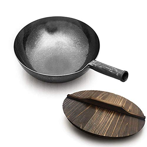 34cm / 12.5 inch Hand Hammered Cast Iron Wok with Wood Lid Carbon Steel Wok Heavy Duty Frying Pan for Electric Induction Gas Stoves