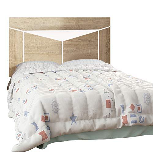 duehome HomeSouth - Cabezal para Cama Individual, cabecero Modelo Ada, Acabado en Color Cambria y Blanco, Medidas: 110 cm (Ancho) x 59 cm (Alto) x 3 cm (Fondo)