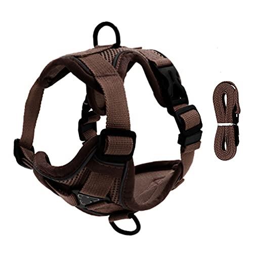 Arnés para perros Pet Reflective Nylon Dog Harness No Pull Adjustable Medium Large Naughty Dog Vest Safety Vehicular Lead Walking Running Arnés para gatos (Color : Brown, Size : Small)