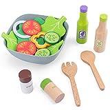 DSXX 13Pcs Holz Küchenspielzeug für Kinder, Salat Set mit Gemüse Rollenspiel Spielzeug Kinderküche Zubehör Küche Spielzeug Lernspielzeug Geschenk