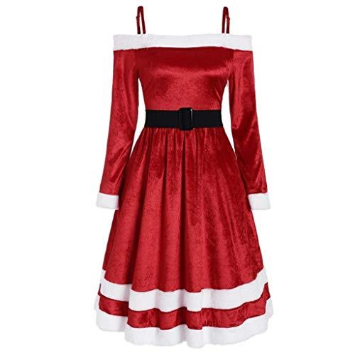 Vectry Damen Cosplay weihnachtsmann Abendkleider cocktailkleid Faltenrock Kleidung Swing Kleider Weihnachten weihnachtskleid Damen weihnachtskleid U-Rot-3 5XL