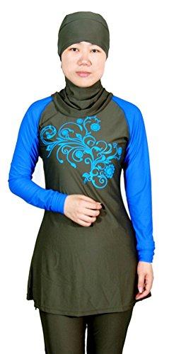 TianMai Muslimische Bademode Muslim Islamischen Bescheidene Full Cover Badebekleidung Modest Swimwear Beachwear Burkini für Frauen (Kaffee, Int'l L (EU-Größe 38-40))