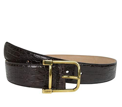 Gucci 257319 E7I0T 2140 - Cinturón de cocodrilo para mujer, color café oscuro