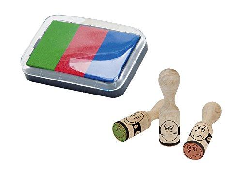 Brunnen 1048692 Stempelset (Belohnung Smiley, 3 Motivstempel aus Holz, inkl. Stempelkissen mit 3 Farben)