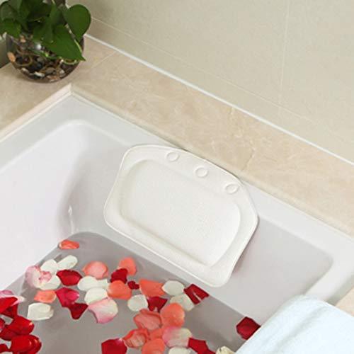 MMT 2-teilige Badprodukte Badewanne Kissen mit Saugschale Badewanne Kopfstütze Wasserdichtes Badewanne Kissen Zufällige Haarfarbe, Größe: 31 * 21cm