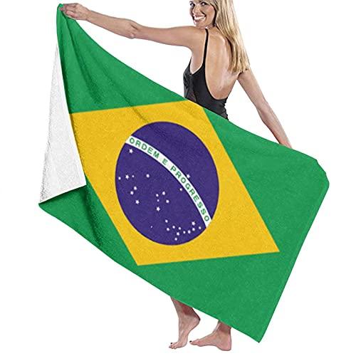 Asciugamano da spiaggia in microfibra con bandiera del Brasile, per uomini e donne, super ad asciugatura rapida, per piscina, bagno, viaggi, sport, hotel (132,1 x 81,3 cm)