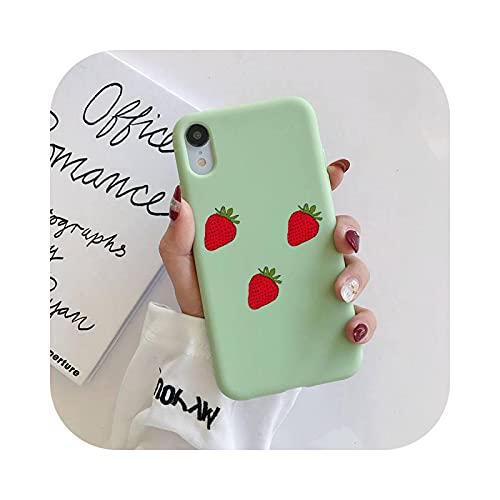 Carcasa para iPhone 11, carcasa de fresa de frutas de silicona líquida para iPhone 11 Pro Max XR XS X, carcasa de caramelo flexible para iPhone 6 6S 7 8 Plus a14-iPhone XR