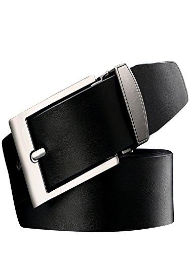 Weinida LODLL-U101 - Cintura da uomo in pelle 115 con fibbia ad ardiglione e fibbia ad ardiglione Nero S'adatta vita 35'-39'(110)