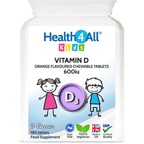 Kids Vitamin D3 600iu Chewable 180 Tablets. Sugar Free. Natural Orange Flavour. Made by Health4All Kids