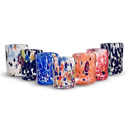 Gocce di Murano Set 6 Bicchieri da liquore Pioggia Arcobaleno in Vetro di Murano soffiato Lavorazione a Mano Colorati Confezione Bicchierini Eleganti e preziosi Made in Italy (Personalizzato, 6)
